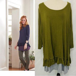 LOGO Lori Goldstein Ruffle Hem Knit Top & Tank Set